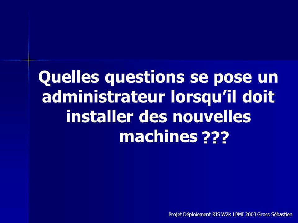 Quelles questions se pose un administrateur lorsquil doit installer des nouvelles machines Projet Déploiement RIS W2k LPMI 2003 Gross Sébastien