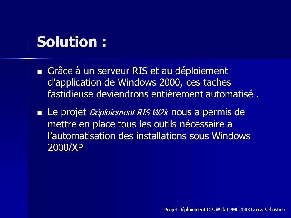 Solution : Grâce à un serveur RIS et au déploiement dapplication de Windows 2000, ces taches fastidieuse deviendrons entièrement automatisé. Grâce à u
