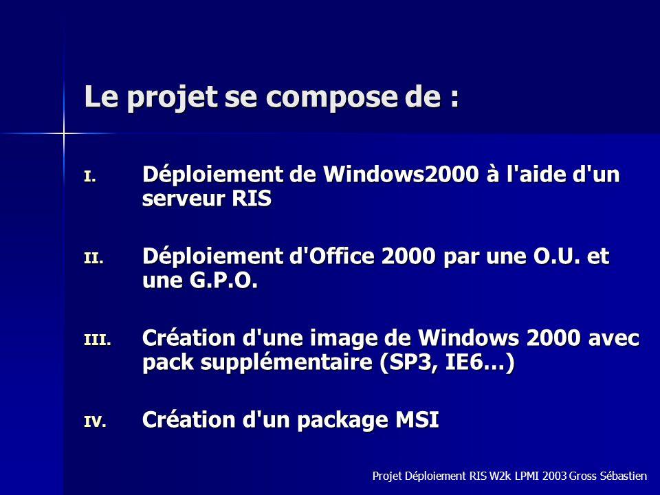 Le projet se compose de : I. Déploiement de Windows2000 à l'aide d'un serveur RIS II. Déploiement d'Office 2000 par une O.U. et une G.P.O. III. Créati