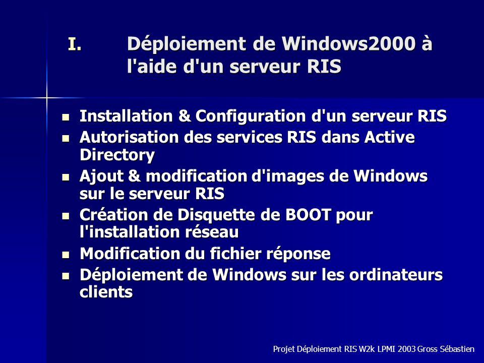 I. Déploiement de Windows2000 à l'aide d'un serveur RIS Installation & Configuration d'un serveur RIS Installation & Configuration d'un serveur RIS Au