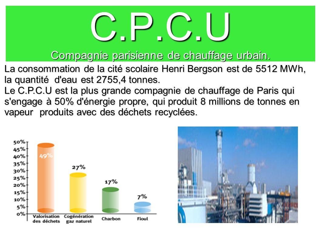 C.P.C.U Compagnie parisienne de chauffage urbain. La consommation de la cité scolaire Henri Bergson est de 5512 MWh, la quantité d'eau est 2755,4 tonn