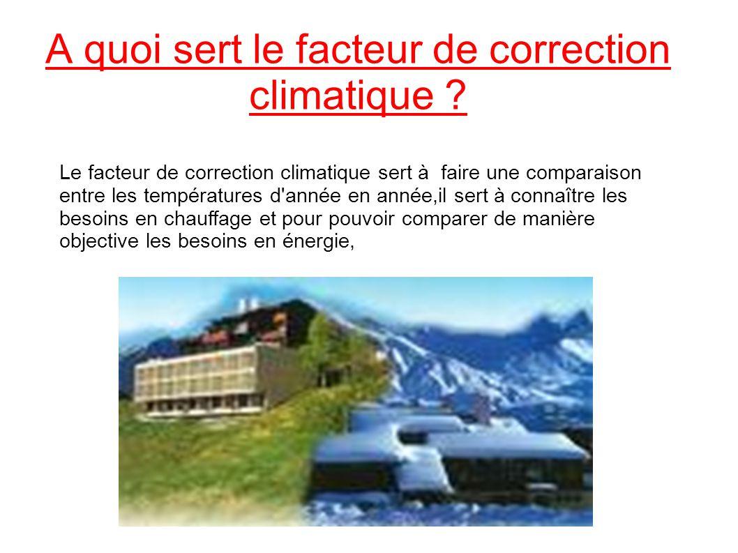 A quoi sert le facteur de correction climatique ? Le facteur de correction climatique sert à faire une comparaison entre les températures d'année en a