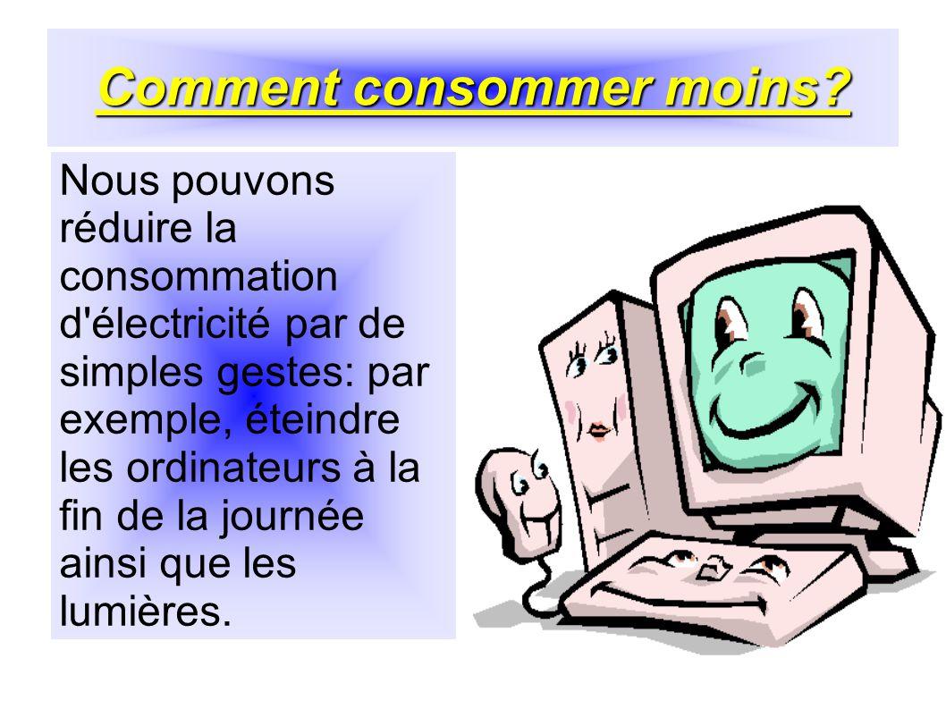 Comment consommer moins? Nous pouvons réduire la consommation d'électricité par de simples gestes: par exemple, éteindre les ordinateurs à la fin de l