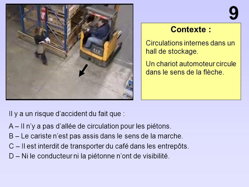 Contexte : Il y a un risque daccident du fait que : A – Il ny a pas dallée de circulation pour les piétons. B – Le cariste nest pas assis dans le sens