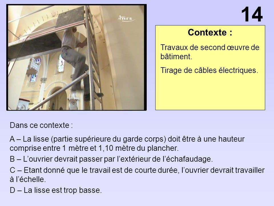 Contexte : Dans ce contexte : A – La lisse (partie supérieure du garde corps) doit être à une hauteur comprise entre 1 mètre et 1,10 mètre du plancher