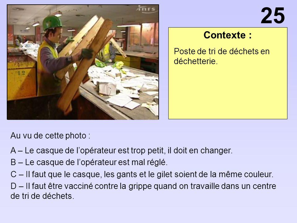 Contexte : Au vu de cette photo : A – Le casque de lopérateur est trop petit, il doit en changer. B – Le casque de lopérateur est mal réglé. C – Il fa