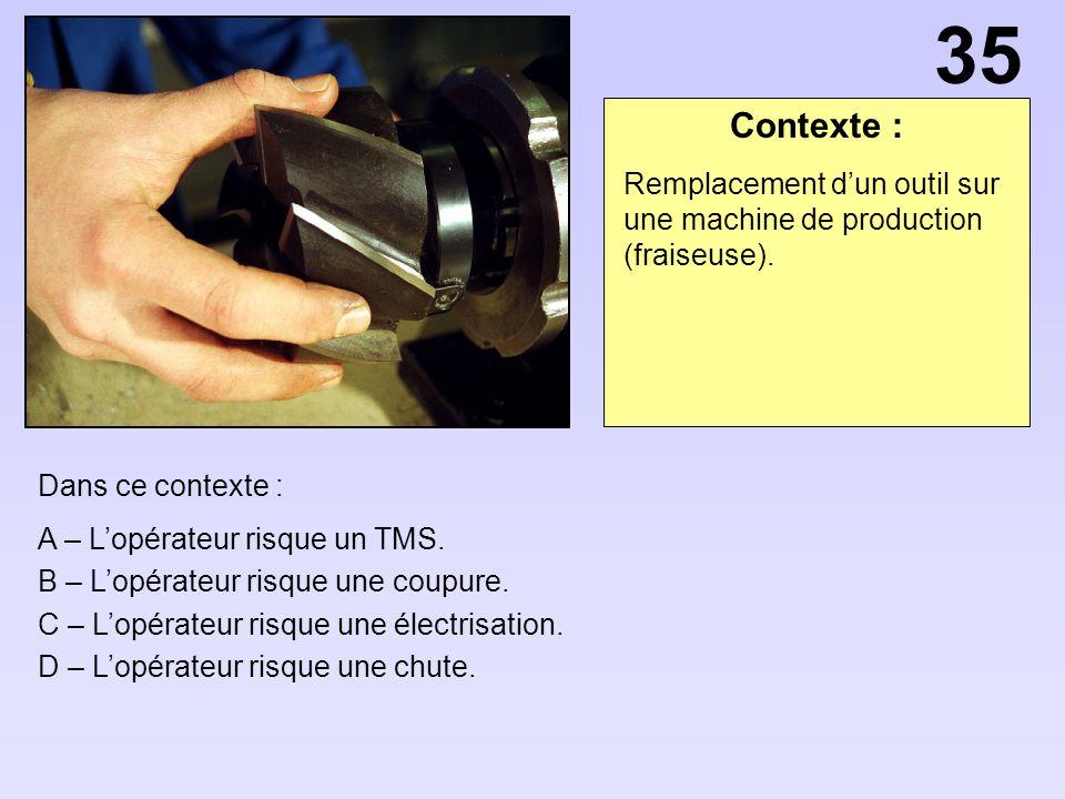 Contexte : Dans ce contexte : A – Lopérateur risque un TMS. B – Lopérateur risque une coupure. C – Lopérateur risque une électrisation. D – Lopérateur