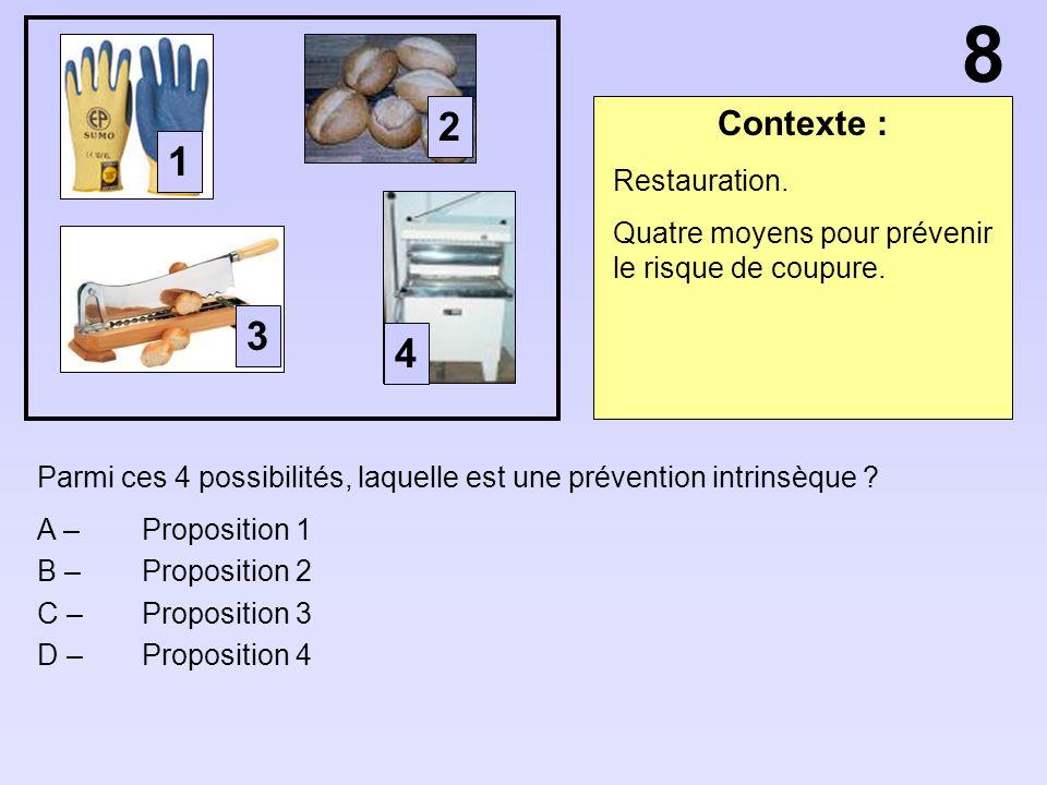 Contexte : Parmi ces 4 possibilités, laquelle est une prévention intrinsèque ? A – Proposition 1 B – Proposition 2 C – Proposition 3 D – Proposition 4