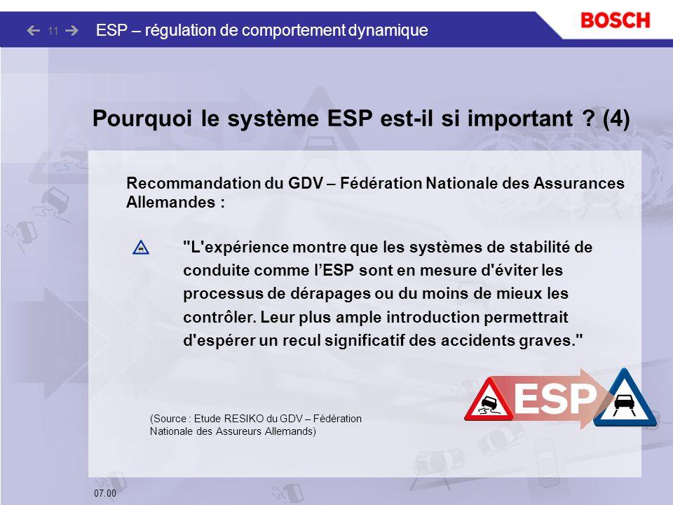 07.00 ESP – régulation de comportement dynamique 11 Recommandation du GDV – Fédération Nationale des Assurances Allemandes :