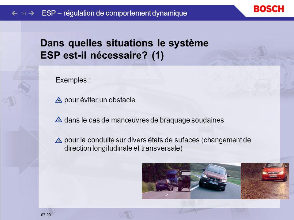 07.00 ESP – régulation de comportement dynamique 16 Dans quelles situations le système ESP est-il nécessaire? (1) Exemples : pour éviter un obstacle d