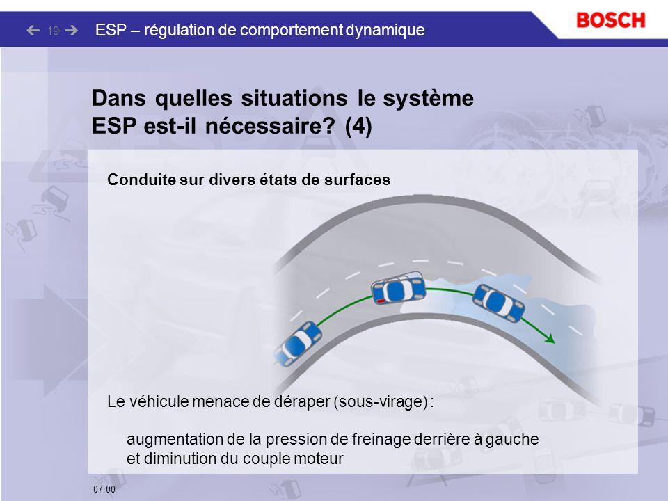 07.00 ESP – régulation de comportement dynamique 19 Le véhicule menace de déraper (sous-virage) : augmentation de la pression de freinage derrière à g