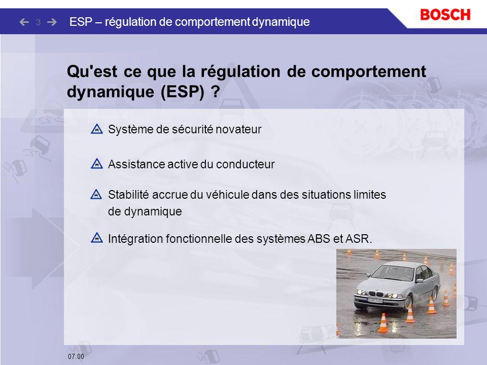 07.00 ESP – régulation de comportement dynamique 3 Qu'est ce que la régulation de comportement dynamique (ESP) ? Système de sécurité novateur Assistan