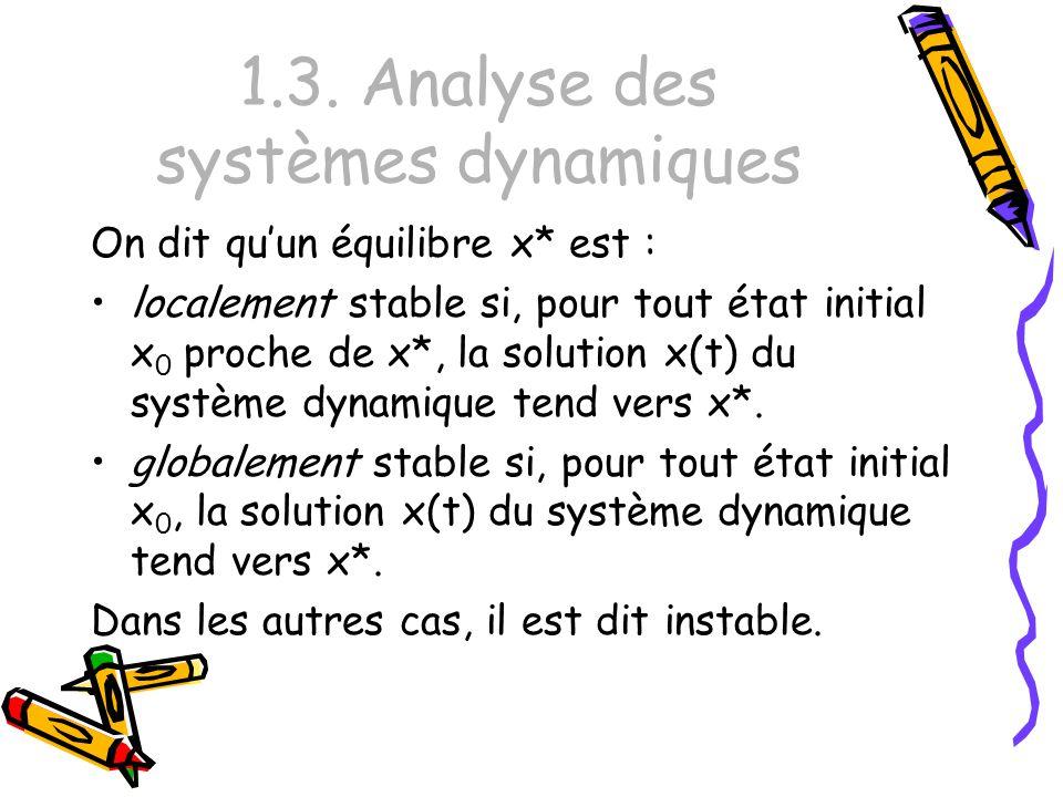 1.3. Analyse des systèmes dynamiques On dit quun équilibre x* est : localement stable si, pour tout état initial x 0 proche de x*, la solution x(t) du