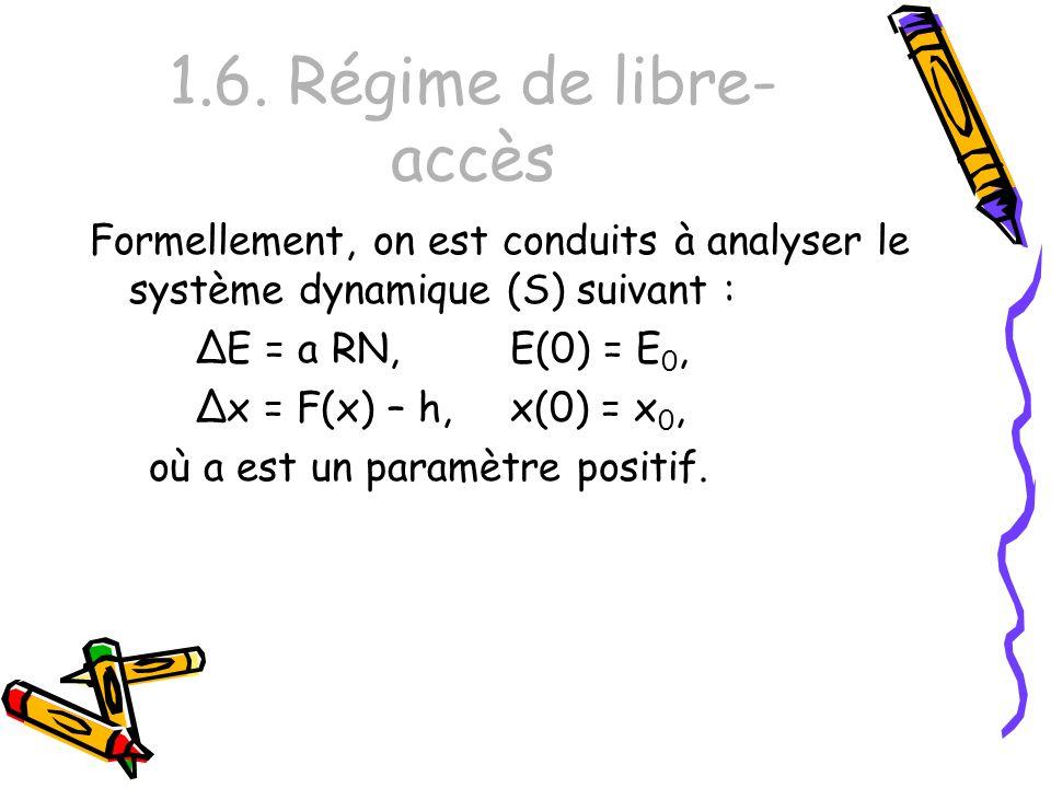 1.6. Régime de libre- accès Formellement, on est conduits à analyser le système dynamique (S) suivant : ΔE = a RN,E(0) = E 0, Δx = F(x) – h,x(0) = x 0