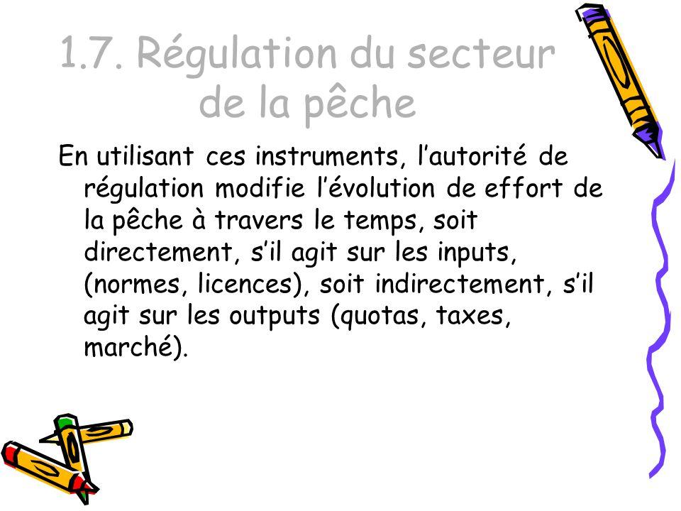 1.7. Régulation du secteur de la pêche En utilisant ces instruments, lautorité de régulation modifie lévolution de effort de la pêche à travers le tem
