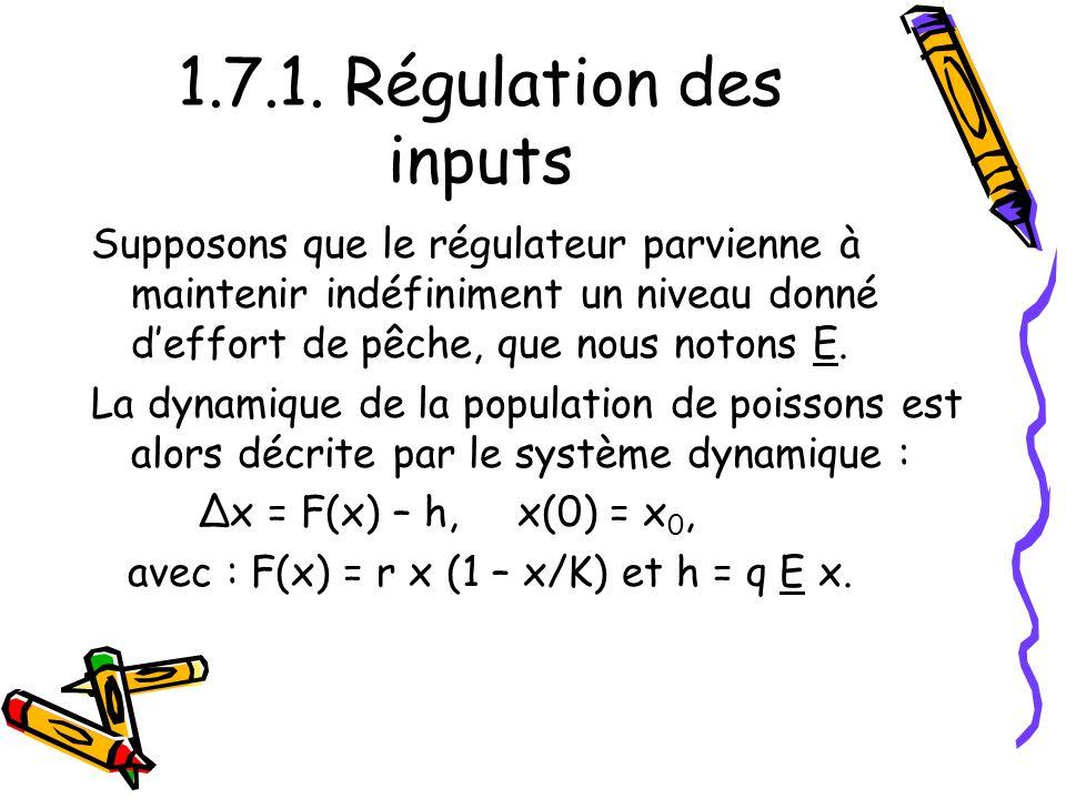 1.7.1. Régulation des inputs Supposons que le régulateur parvienne à maintenir indéfiniment un niveau donné deffort de pêche, que nous notons E. La dy
