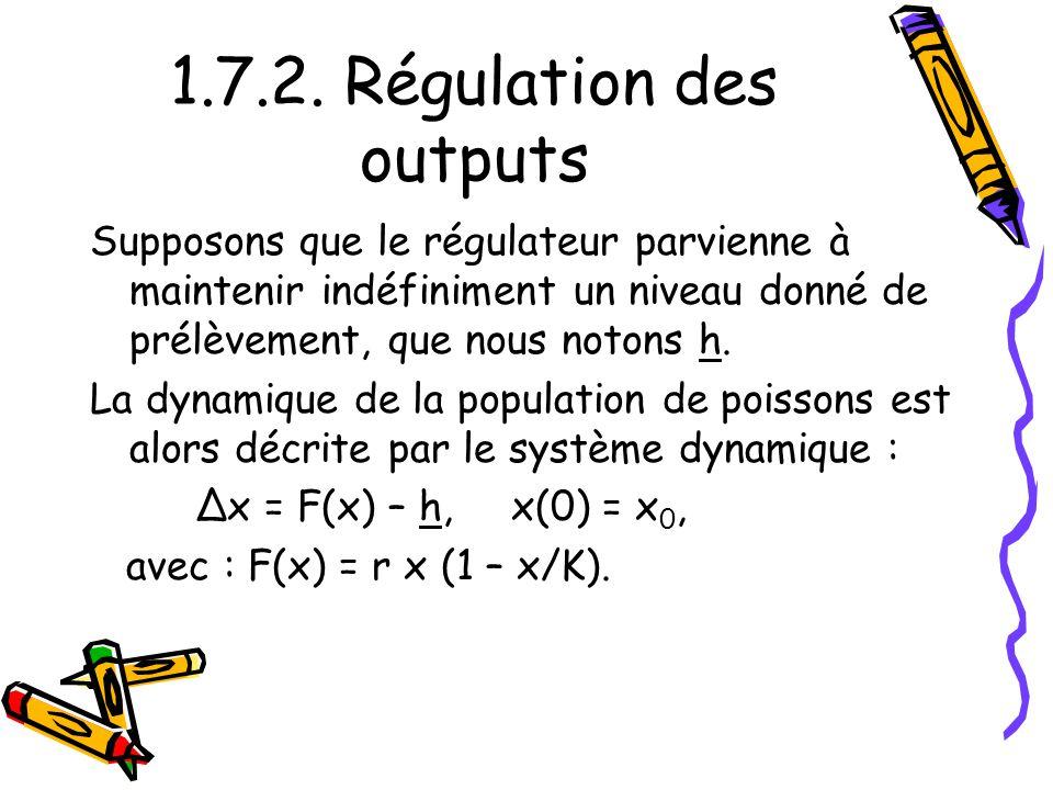 1.7.2. Régulation des outputs Supposons que le régulateur parvienne à maintenir indéfiniment un niveau donné de prélèvement, que nous notons h. La dyn
