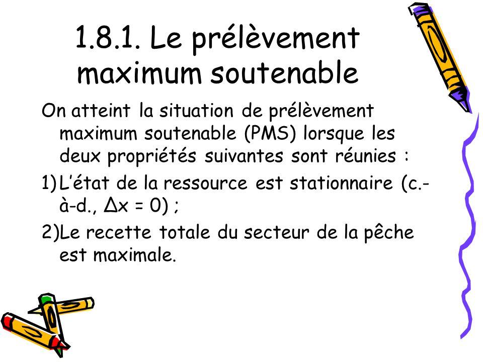 1.8.1. Le prélèvement maximum soutenable On atteint la situation de prélèvement maximum soutenable (PMS) lorsque les deux propriétés suivantes sont ré