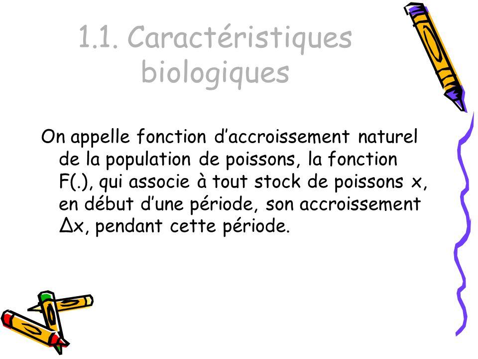 1.1. Caractéristiques biologiques On appelle fonction daccroissement naturel de la population de poissons, la fonction F(.), qui associe à tout stock