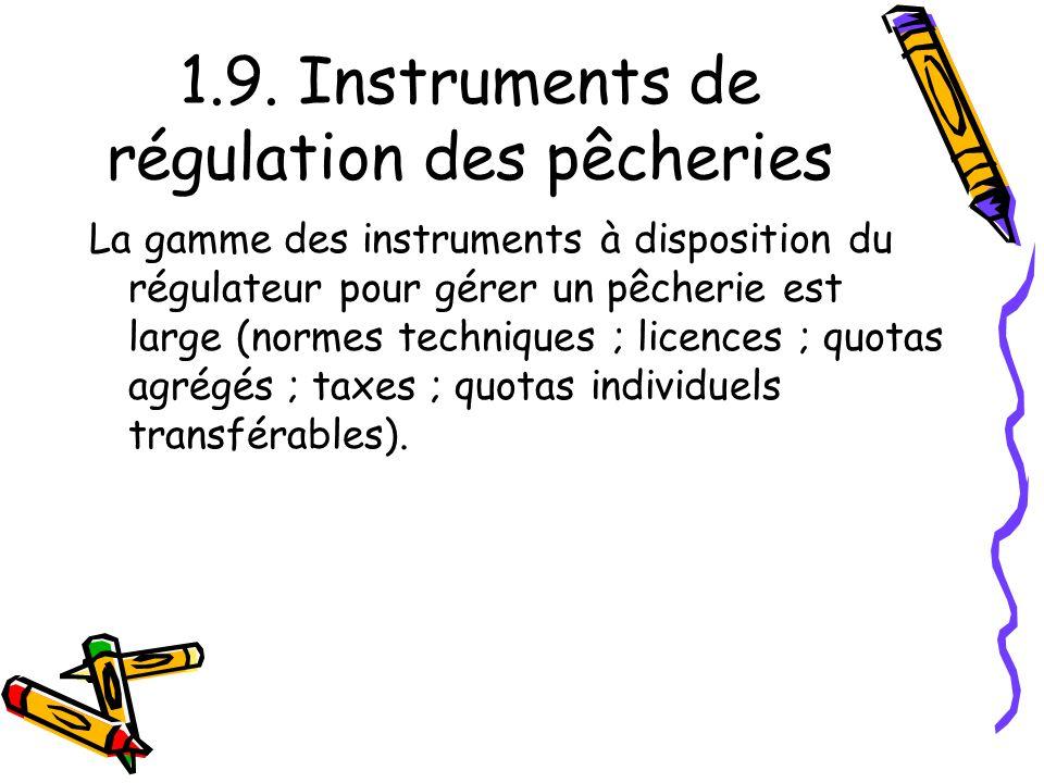 1.9. Instruments de régulation des pêcheries La gamme des instruments à disposition du régulateur pour gérer un pêcherie est large (normes techniques
