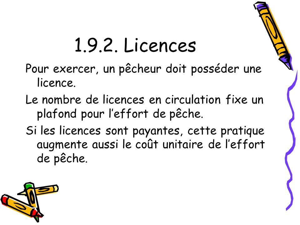 1.9.2. Licences Pour exercer, un pêcheur doit posséder une licence. Le nombre de licences en circulation fixe un plafond pour leffort de pêche. Si les