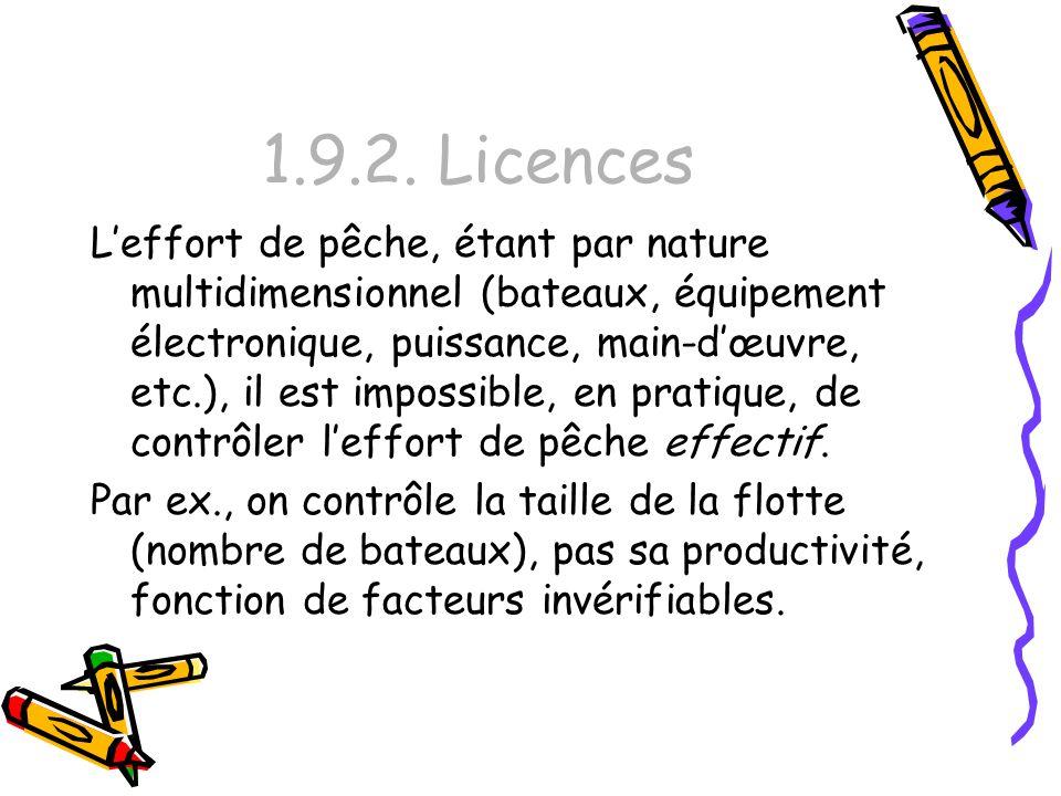 1.9.2. Licences Leffort de pêche, étant par nature multidimensionnel (bateaux, équipement électronique, puissance, main-dœuvre, etc.), il est impossib
