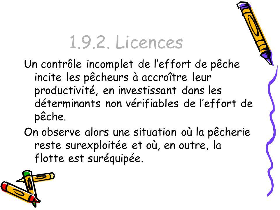 1.9.2. Licences Un contrôle incomplet de leffort de pêche incite les pêcheurs à accroître leur productivité, en investissant dans les déterminants non