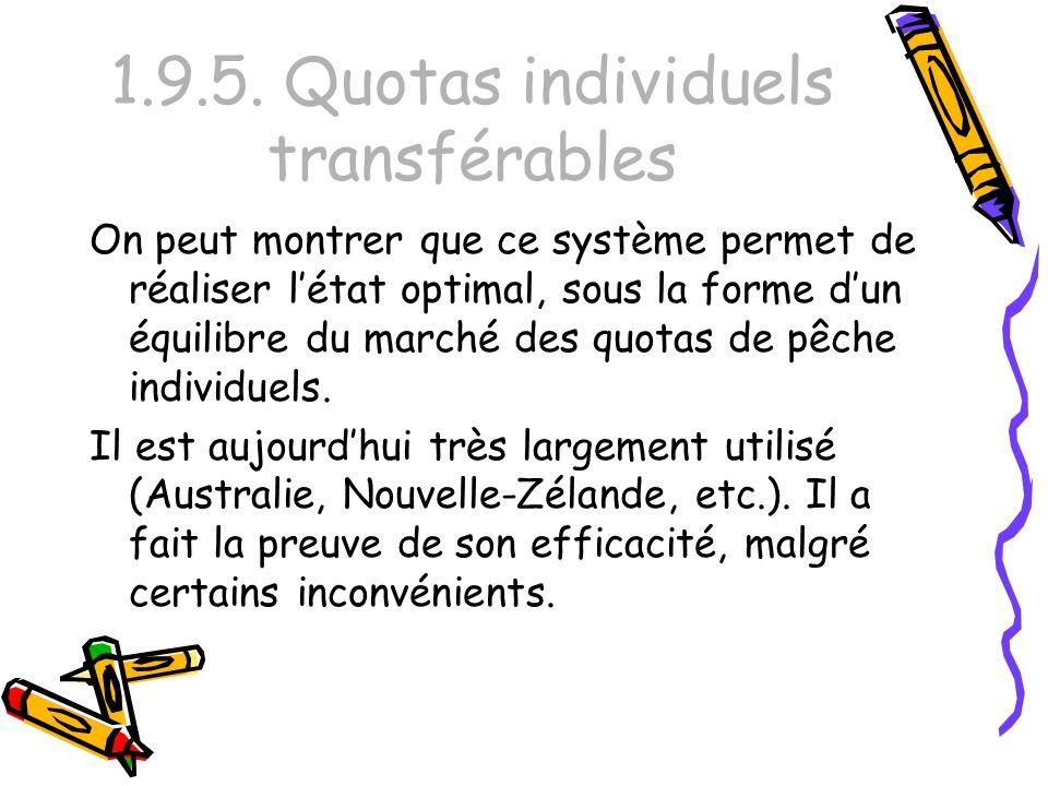 1.9.5. Quotas individuels transférables On peut montrer que ce système permet de réaliser létat optimal, sous la forme dun équilibre du marché des quo