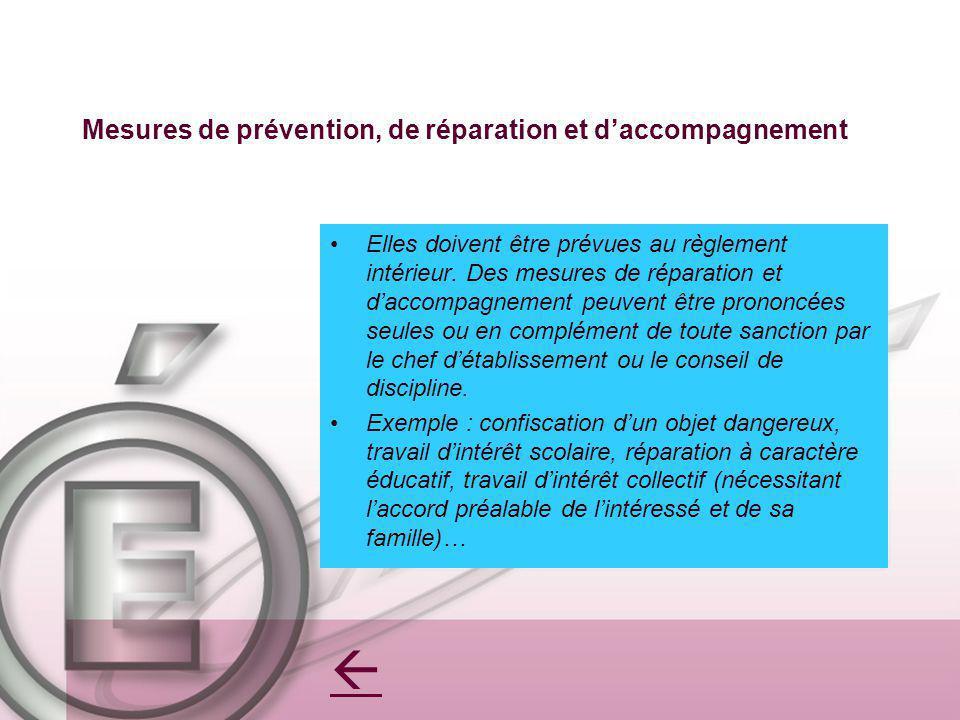 Mesures de prévention, de réparation et daccompagnement Elles doivent être prévues au règlement intérieur. Des mesures de réparation et daccompagnemen