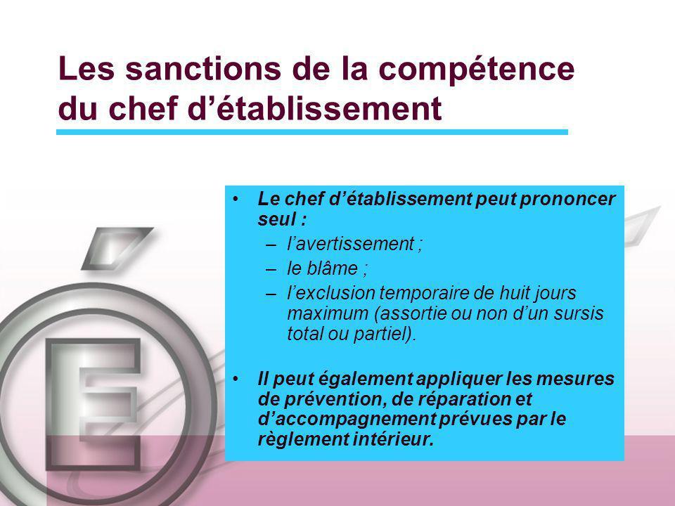 Les sanctions de la compétence du chef détablissement Le chef détablissement peut prononcer seul : –lavertissement ; –le blâme ; –lexclusion temporaire de huit jours maximum (assortie ou non dun sursis total ou partiel).
