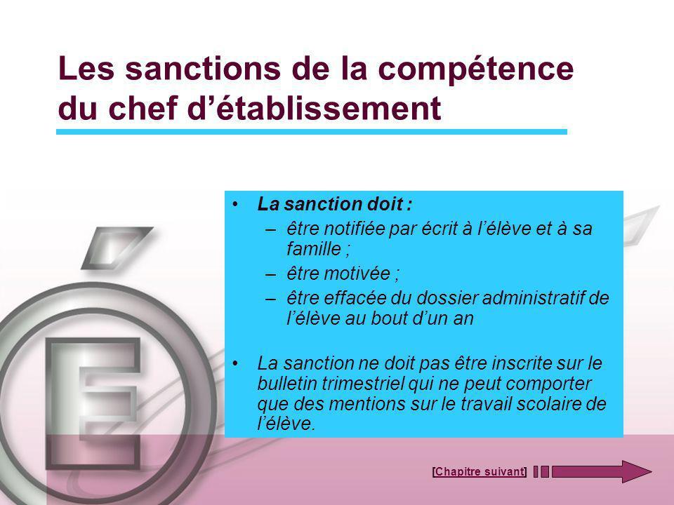 Les sanctions de la compétence du chef détablissement La sanction doit : –être notifiée par écrit à lélève et à sa famille ; –être motivée ; –être eff