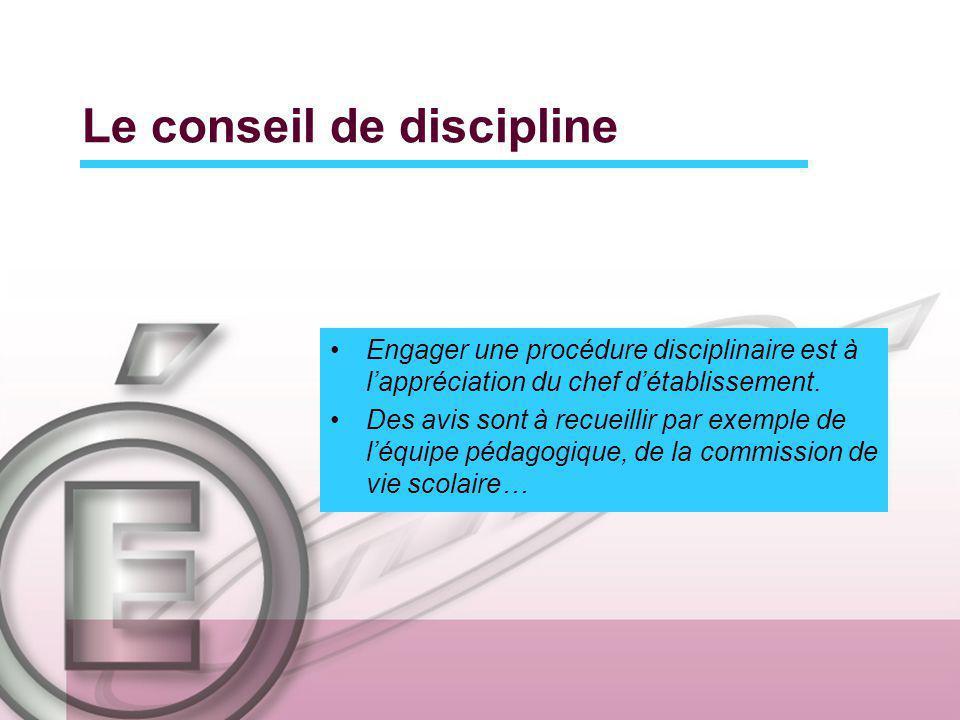 Le conseil de discipline Engager une procédure disciplinaire est à lappréciation du chef détablissement. Des avis sont à recueillir par exemple de léq
