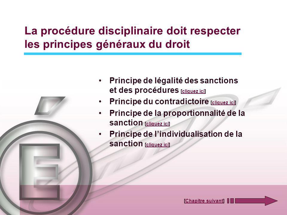 La procédure disciplinaire doit respecter les principes généraux du droit Principe de légalité des sanctions et des procédures [cliquez ici]cliquez ic