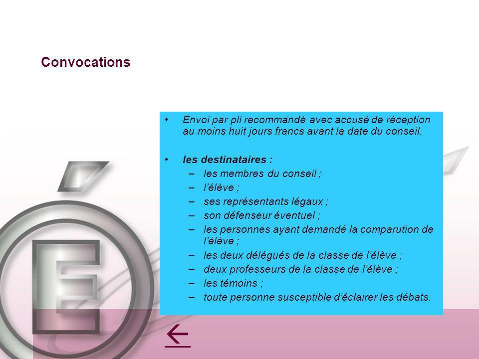 Convocations Envoi par pli recommandé avec accusé de réception au moins huit jours francs avant la date du conseil. les destinataires : –les membres d