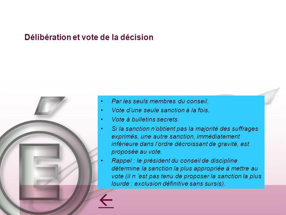 Délibération et vote de la décision Par les seuls membres du conseil. Vote dune seule sanction à la fois. Vote à bulletins secrets. Si la sanction nob