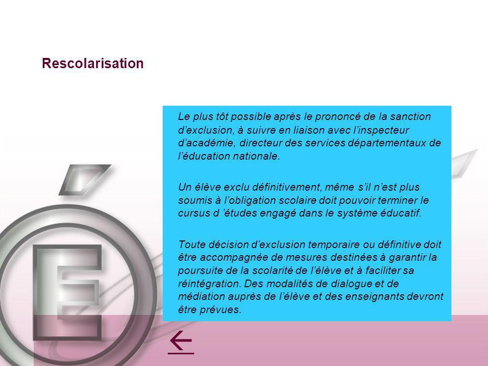 Rescolarisation Le plus tôt possible après le prononcé de la sanction dexclusion, à suivre en liaison avec linspecteur dacadémie, directeur des servic