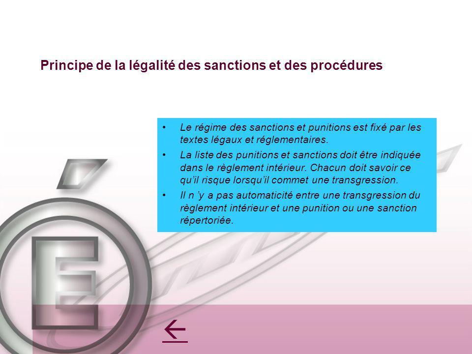 Principe de la légalité des sanctions et des procédures Le régime des sanctions et punitions est fixé par les textes légaux et réglementaires. La list