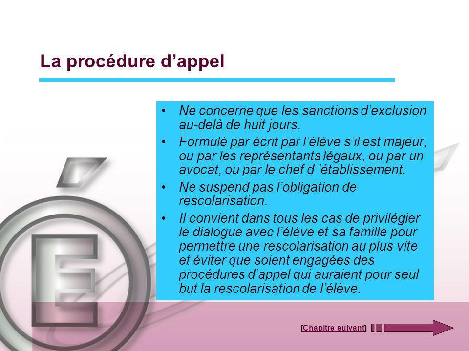 La procédure dappel Ne concerne que les sanctions dexclusion au-delà de huit jours. Formulé par écrit par lélève sil est majeur, ou par les représenta