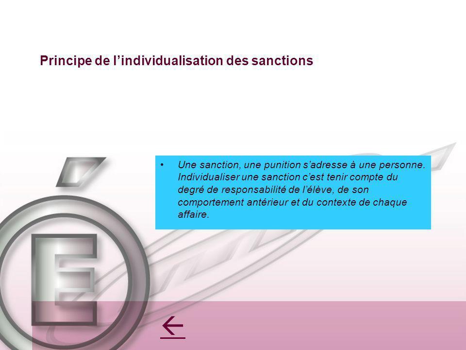 Principe de lindividualisation des sanctions Une sanction, une punition sadresse à une personne. Individualiser une sanction cest tenir compte du degr
