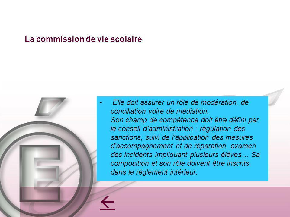 La commission de vie scolaire Elle doit assurer un rôle de modération, de conciliation voire de médiation.