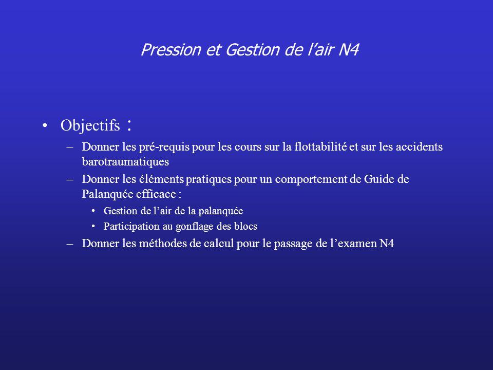 Pression et Gestion de lair N4 Objectifs : –Donner les pré-requis pour les cours sur la flottabilité et sur les accidents barotraumatiques –Donner les