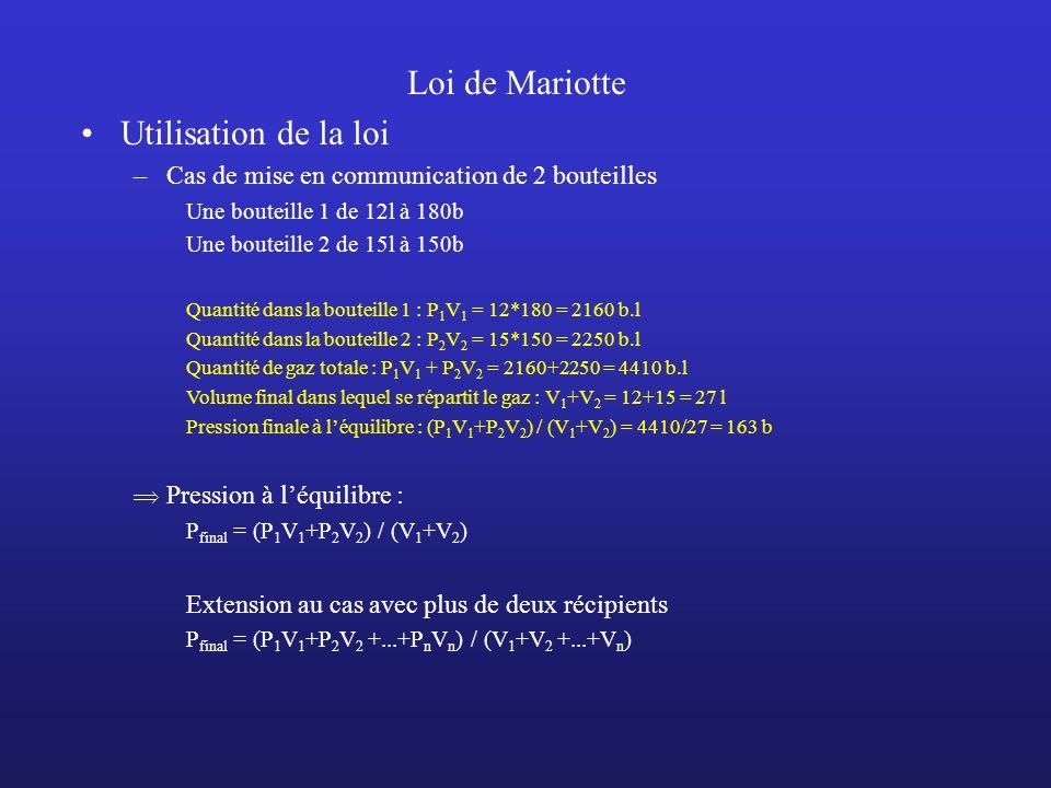 Loi de Mariotte Utilisation de la loi –Cas de mise en communication de 2 bouteilles Une bouteille 1 de 12l à 180b Une bouteille 2 de 15l à 150b Quanti