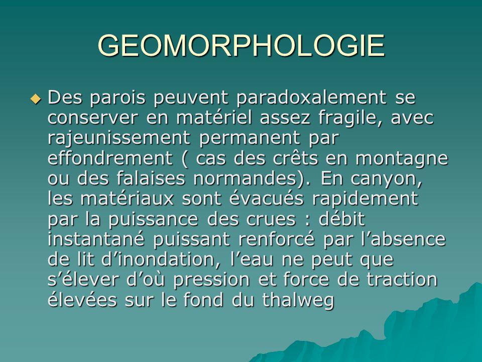 GEOMORPHOLOGIE Des parois peuvent paradoxalement se conserver en matériel assez fragile, avec rajeunissement permanent par effondrement ( cas des crêt