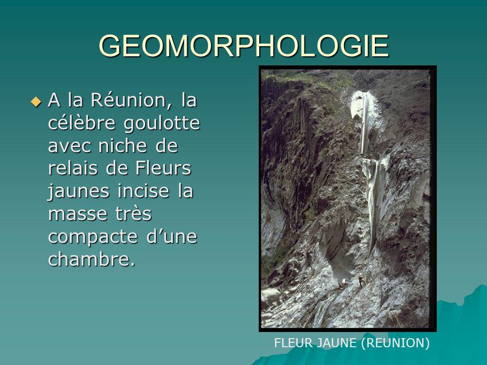 GEOMORPHOLOGIE A la Réunion, la célèbre goulotte avec niche de relais de Fleurs jaunes incise la masse très compacte dune chambre. A la Réunion, la cé