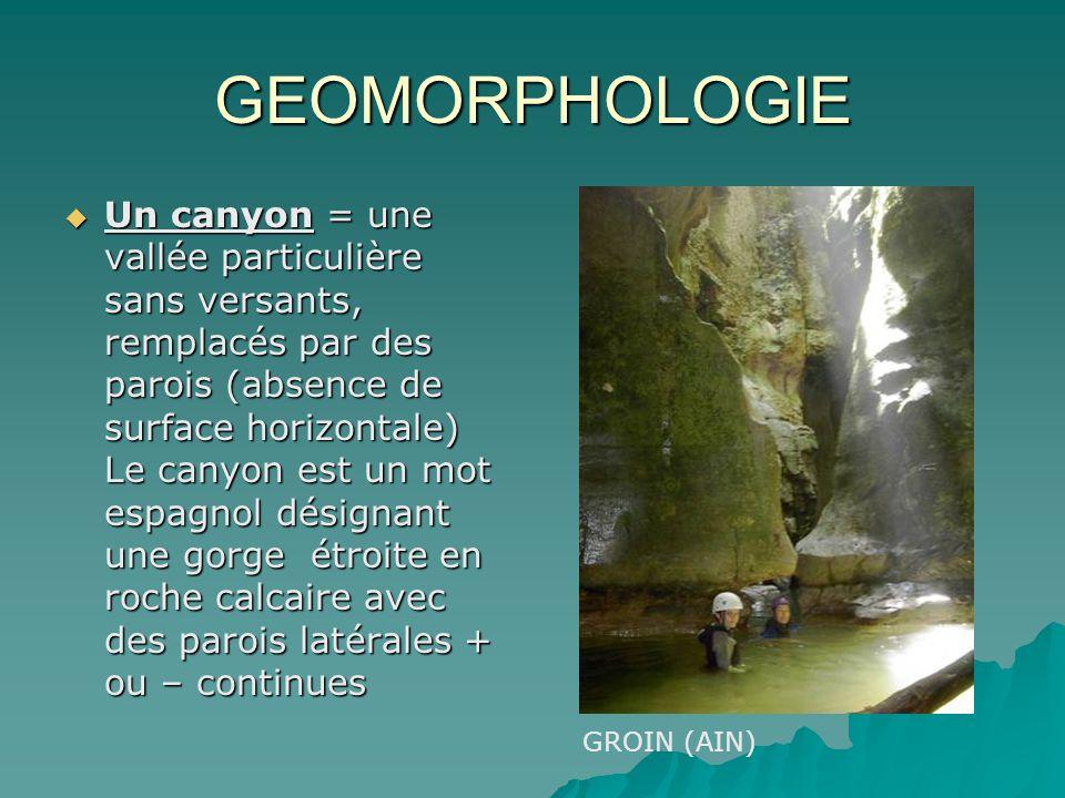 GEOMORPHOLOGIE Un canyon = une vallée particulière sans versants, remplacés par des parois (absence de surface horizontale) Le canyon est un mot espag