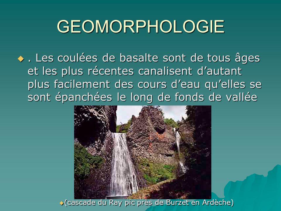 GEOMORPHOLOGIE. Les coulées de basalte sont de tous âges et les plus récentes canalisent dautant plus facilement des cours deau quelles se sont épanch