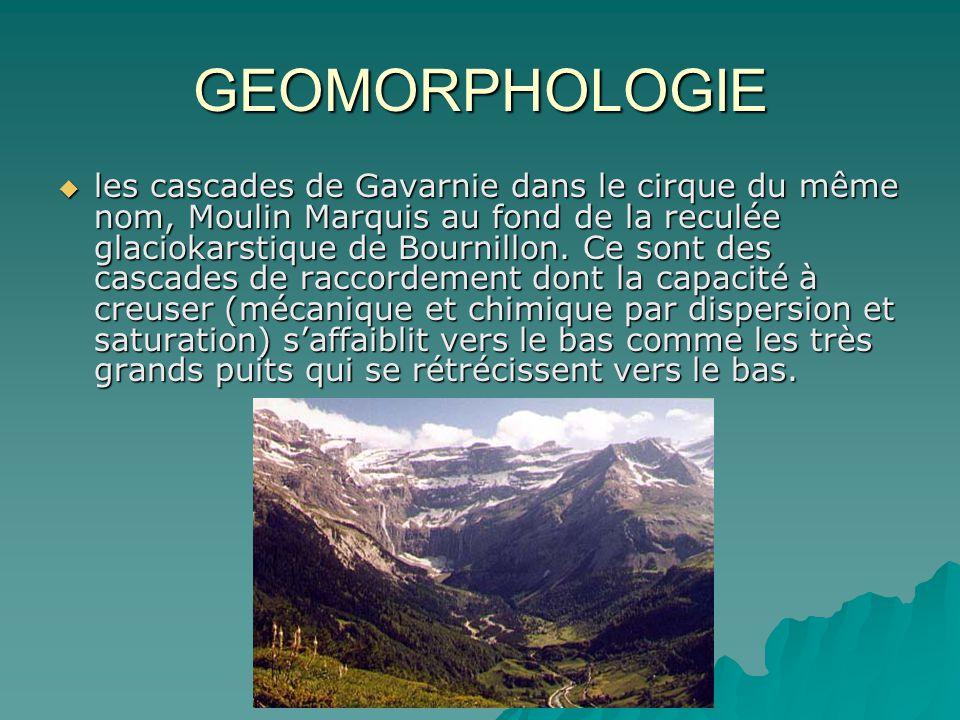 GEOMORPHOLOGIE les cascades de Gavarnie dans le cirque du même nom, Moulin Marquis au fond de la reculée glaciokarstique de Bournillon. Ce sont des ca