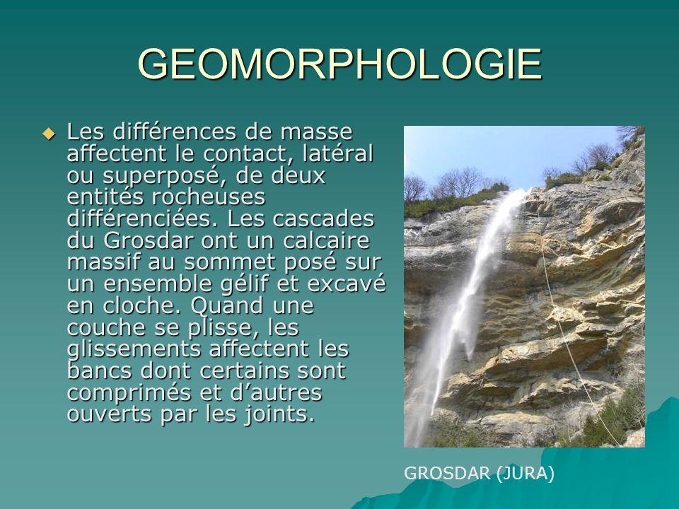 GEOMORPHOLOGIE Les différences de masse affectent le contact, latéral ou superposé, de deux entités rocheuses différenciées. Les cascades du Grosdar o