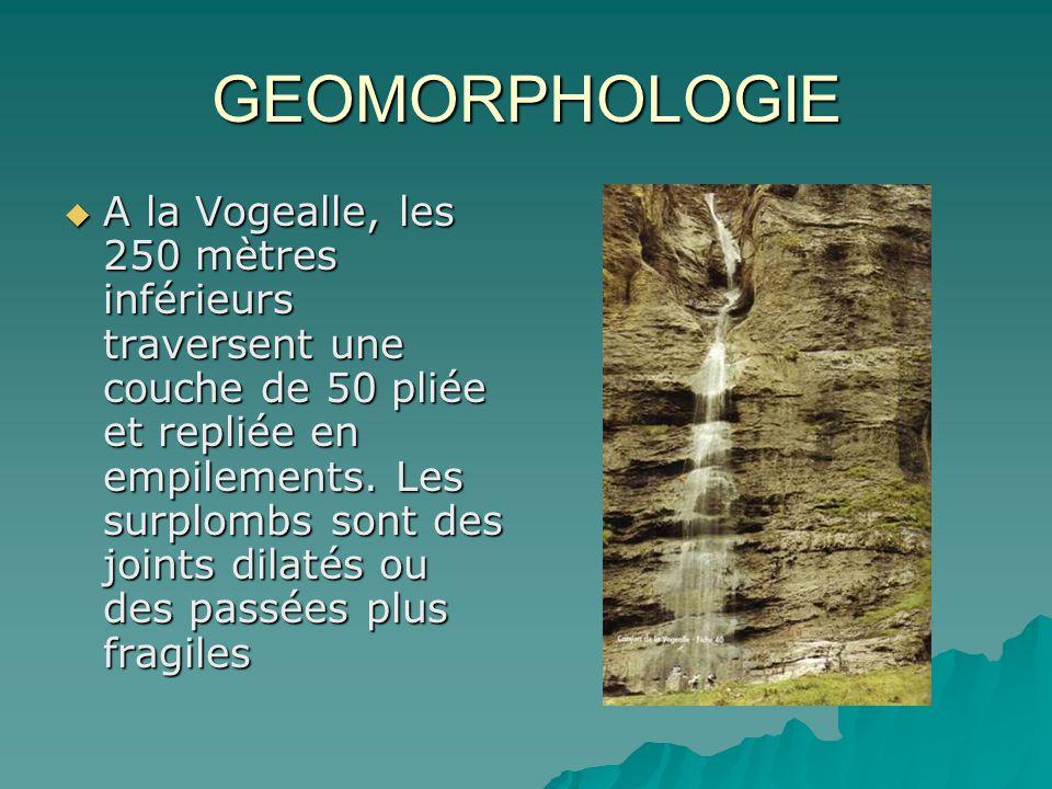 GEOMORPHOLOGIE A la Vogealle, les 250 mètres inférieurs traversent une couche de 50 pliée et repliée en empilements. Les surplombs sont des joints dil
