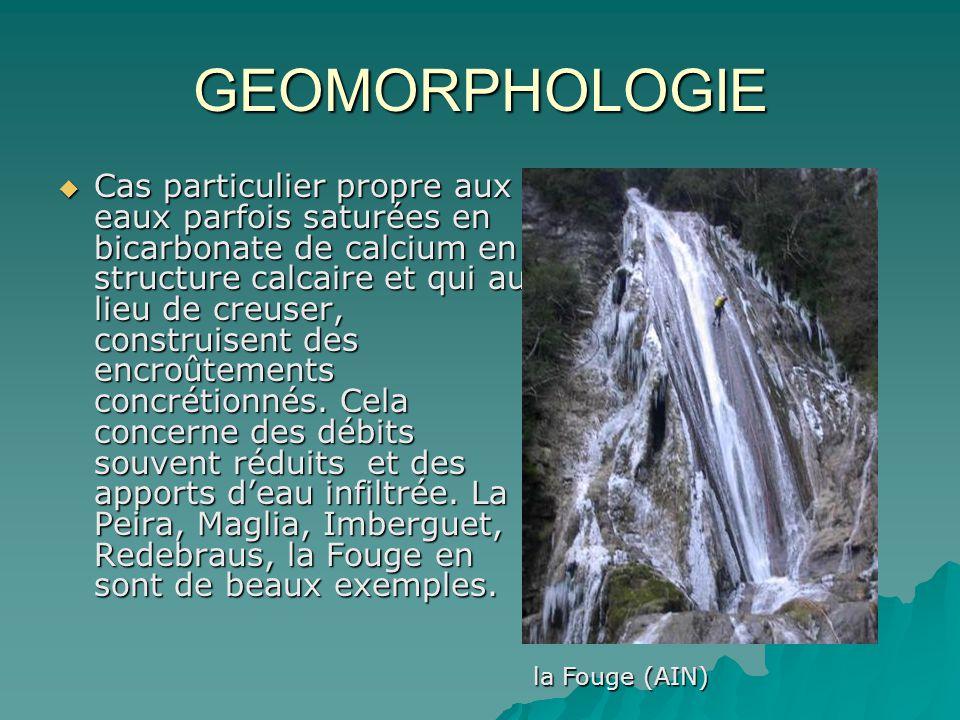 GEOMORPHOLOGIE Cas particulier propre aux eaux parfois saturées en bicarbonate de calcium en structure calcaire et qui au lieu de creuser, construisen